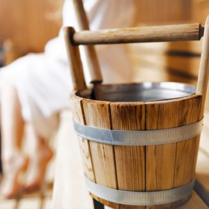 Sauna bucket background